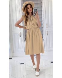 Елегантна рокля в бежово - код 701