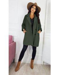 Свободно дамско палто в зелен цвят - код 276