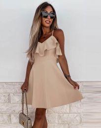 Атрактивна дамска рокля в бежово - код 2739