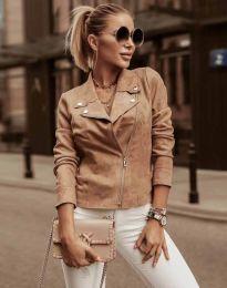 Елегантно дамско яке в цвят капучино - код 7759