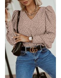 Атрактивна дамска блуза в бежово - код 3250