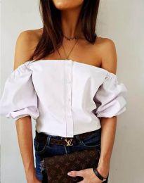 Екстравагантна дамска риза в бяло - код 3525