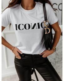 Бяла дамска тениска с черен надпис - код 996
