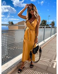 Елегантна рокля в цвят горчица - код 547