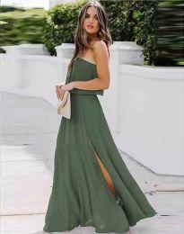 Дамска рокля в масленозелено с цепка - код 8871