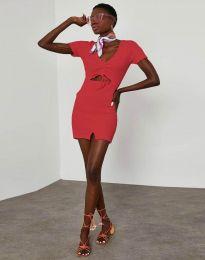 Ефектна рокля с връзки в цвят червено - код 1294