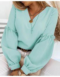 Елегантна дамска блуза в цвят мента с ефектни ръкави - код 5565