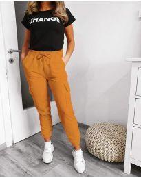 Панталон със странични джобове в цвят горчица - код 3089