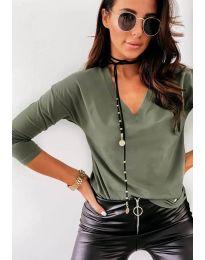Дамска блуза в маслено зелено - код 3478
