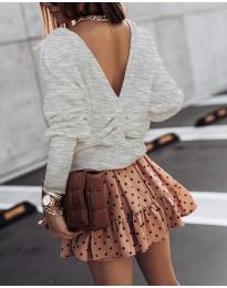 Блуза с изрязан гръб в сиво - код 2629