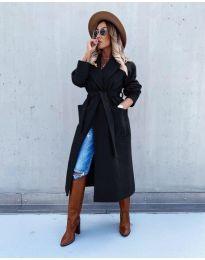 Дълго дамско палто в черно - код 5877