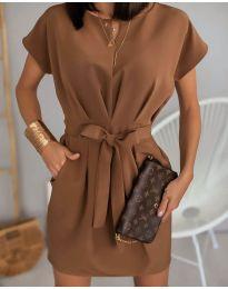 Елегантна рокля в кафяво - код 772