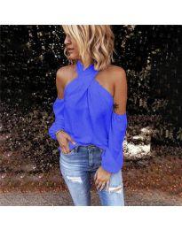 Стилна блуза с ефектни ръкави в синьо - код 6568