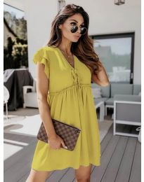 Свободна рокля в цвят горчица - код 2093