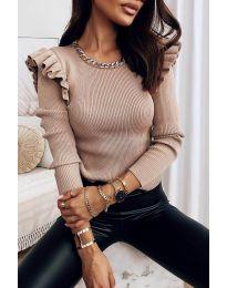 Атрактивна дамска блуза в бежово - код 8865