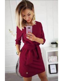 Изчистена рокля в бордо с колан при талията - код 594