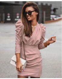 Елегантна рокля в цвят пудра - код 870