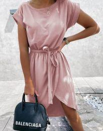 Дамска рокля в цвят пудра - код 2074