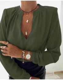 Дамска риза с V-образно деколте в маслено зелено - код 405
