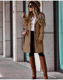 Дълго дамско палто в кафяво - код 4554