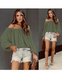 Дамска блуза с лодка деколте в маслено зелено - код 6674