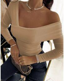 Атрактивна дамска блуза в бежово - код 5343