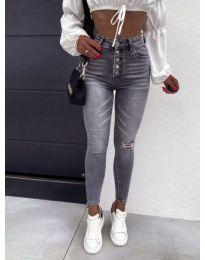 Дамски сиви дънки с висока талия - код 4215