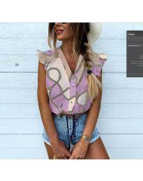 Дамска риза в лилав десен - код 448