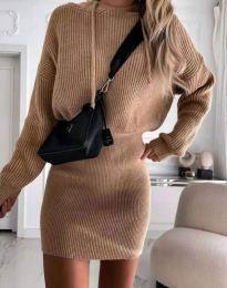 Елегантна дамска рокля в цвят капучино код 0235