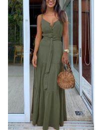 Дълга дамска рокля в маслено зелено - код 2050