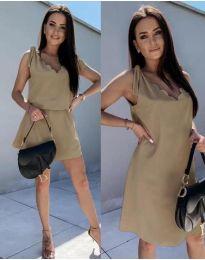 Свободна дамска рокля в цвят капучино - код 2504