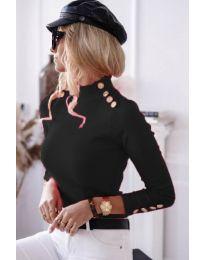 Дамска блуза с поло яка в черно - код 6343