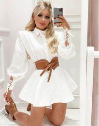 Къса атрактивна рокля в бяло - код 44589