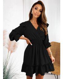 Свободна дамска рокля в черно  - код 8554