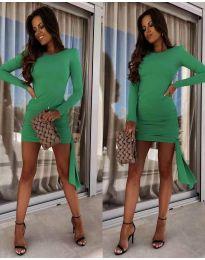 Стилна рокля по тялото в зелено - код 6515