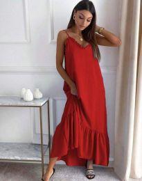 Свободна рокля в червено - код 4671