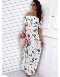 Бяла рокля с десен на листа - код 354