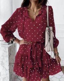 Стилна дамска рокля в червено на точки - код 7113