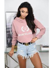 Спортна блуза в розово с надпис - код 766