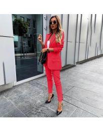 Елегантен комплект от сако и панталон в червено - код 862