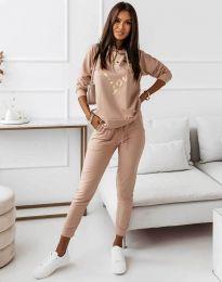 Спортен дамски комплект с блуза с дълъг ръкав и долнище в бежово - код 12034