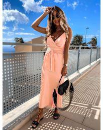 Елегантна рокля в цвят праскова - код 547