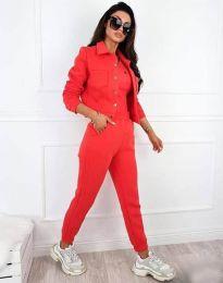 Спортно-елегантен дамски комплект в цвят корал - код 3424