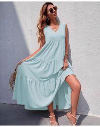 Свободна дълга рокля в бледосиньо  - код 8149