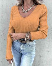 Стилна дамска блуза в цвят горчица - код 5918
