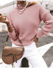 Дамски ефектен пуловер в цвят пудра - код 1804