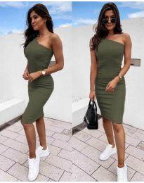 Дамска рокля в маслено зелено с голо рамо - код 0208
