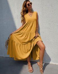Свободна дълга рокля в цвят горчица - код 8149