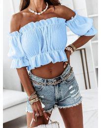 Дамска блуза с голи рамене в светлосиньо - код 11898
