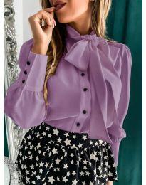 Елегантна дамска риза в лилав цвят - код 971